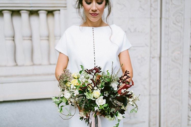 Short Sleeve Dress Plain White Bride Black Bouquet Roses Modern Elegance Marble Greenery Gold Wedding Ideas http://www.jettwalkerphotography.com/