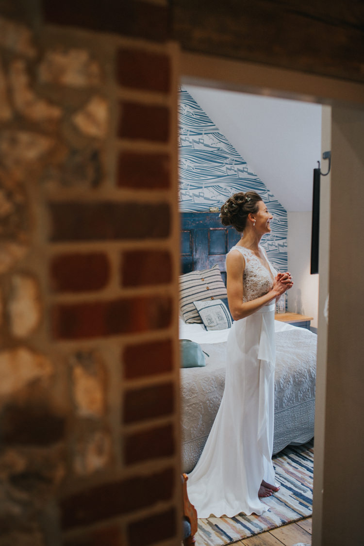 Bride Bridal Suzanne Neville Lace Top Beautifully Serene Beachside Barn Wedding https://joshuapatrickphotography.com/