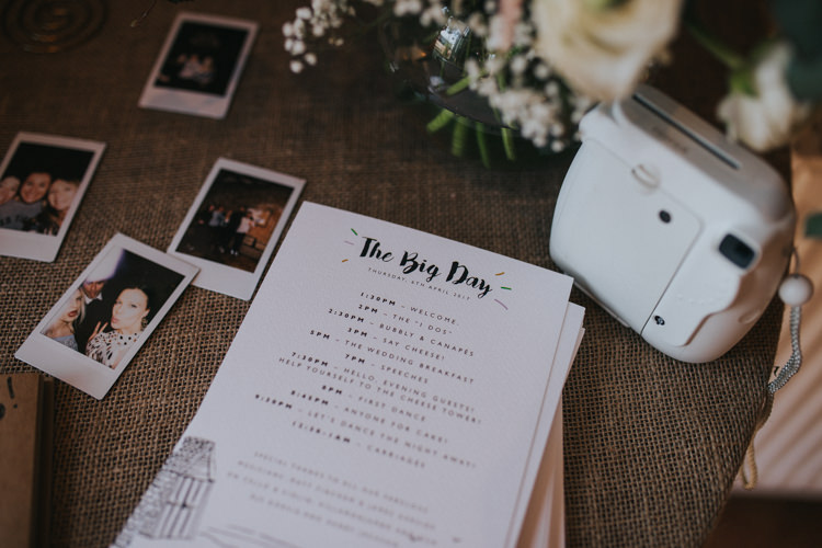 Guest Book Polaroid Burlap Hessian Table Order of the Day Timetable Beautifully Serene Beachside Barn Wedding https://joshuapatrickphotography.com/