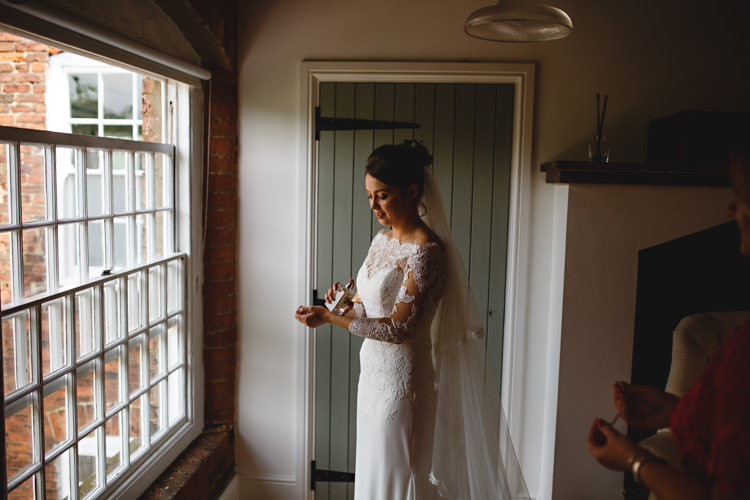 Pronovias Long Sleeved Lace Off Shoulder Bardot Dress Gown Bride Bridal Industrial Rose Gold Dove Grey Greenery Wedding http://hbaphotography.com/