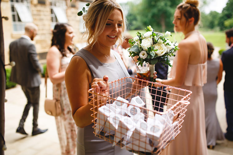 Wire Basket Confetti Industrial Rose Gold Dove Grey Greenery Wedding http://hbaphotography.com/