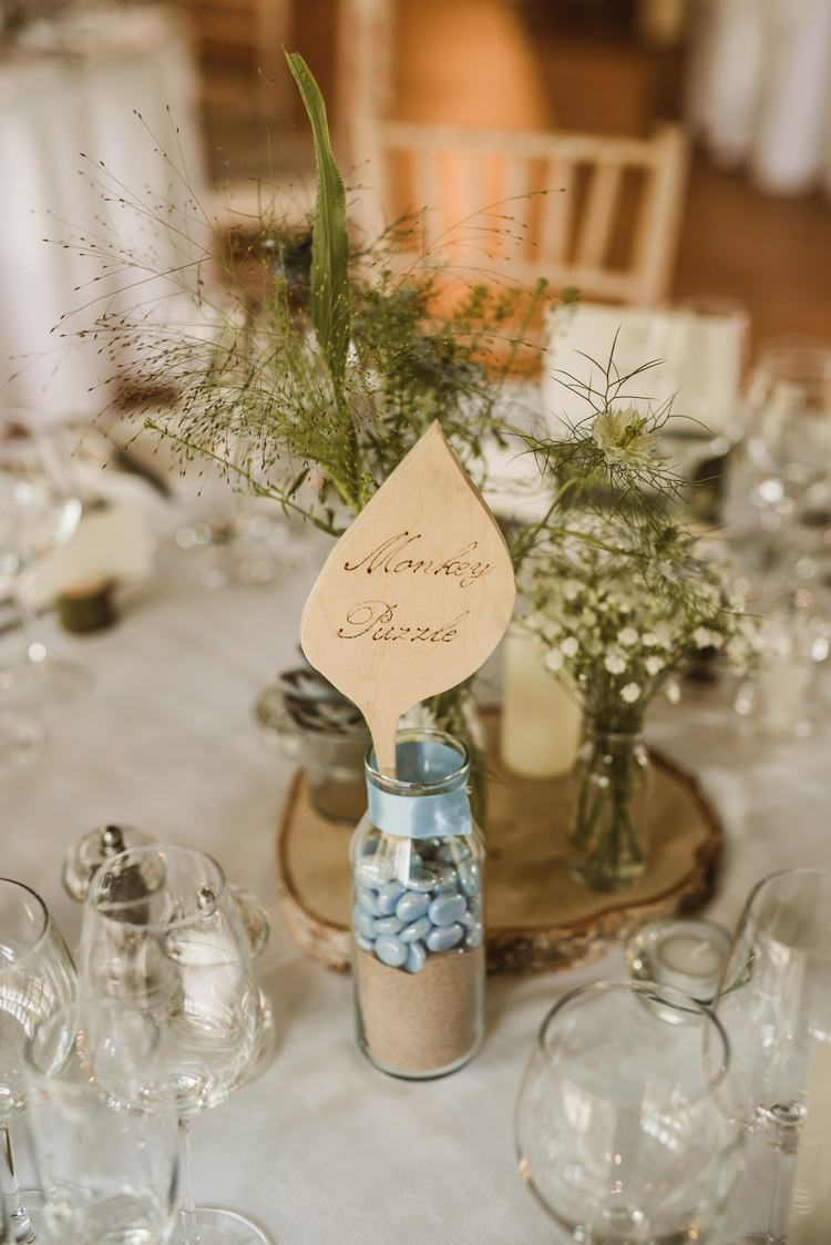 Wooden Leaf Table Names Centrepiece Flowers Log Decor Homely Ethereal Intimate Country House Wedding https://www.photosligo.com/