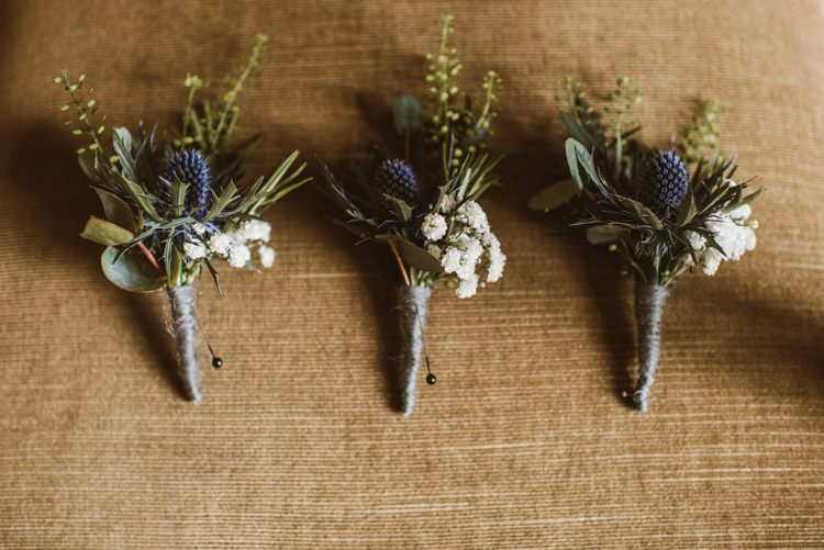 Thistle Buttonholes Twine Rosemary Homely Ethereal Intimate Country House Wedding https://www.photosligo.com/