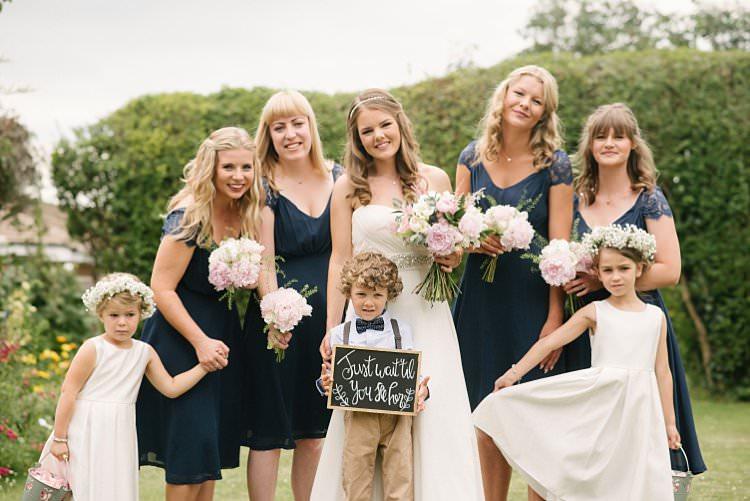 Bride Bridal Bridesmaids Navy Page Boy Flower Girls Gypsophila Flower Crowns Bouquet Blousy Peony Rose Pink Blush Crafty Pretty Pastel Budget Wedding http://lilysawyer.com/