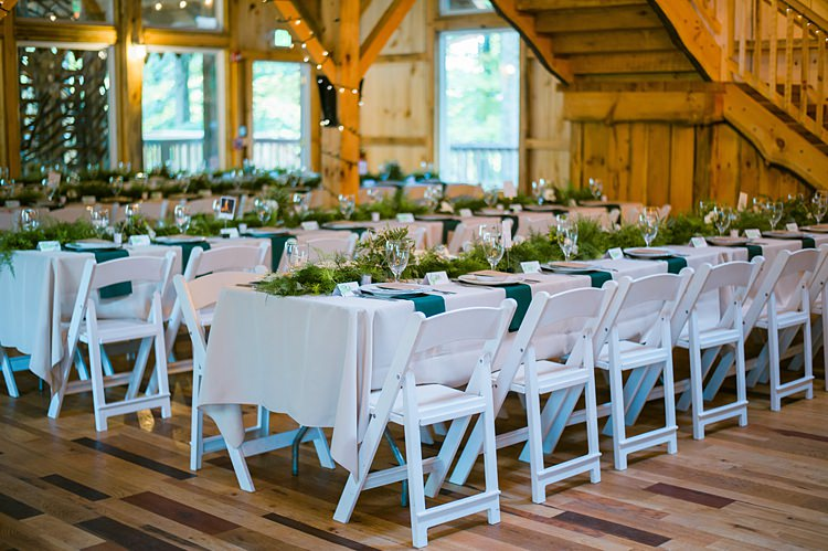 Tables White Linen Greenery Centre Pieces Runners Whimsical Woods Wedding Barn Ohio http://www.connectionphotoblog.com/