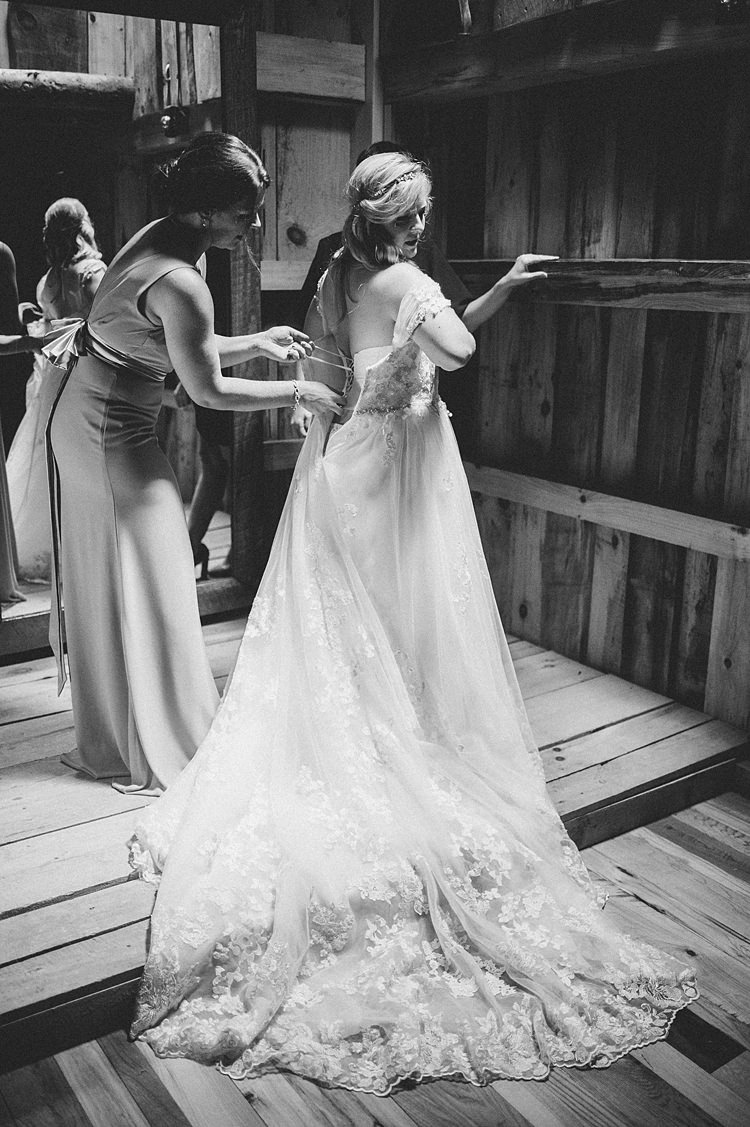 Bride Getting Ready Lace Gown Corset Whimsical Woods Wedding Barn Ohio http://www.connectionphotoblog.com/
