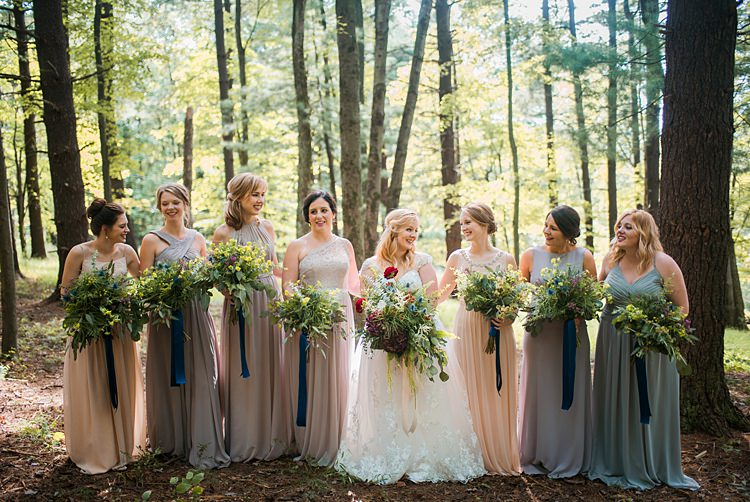 Bride Bridal Party Bridesmaids Mismatched Pastel Bouquets Greenery Ribbons Whimsical Woods Wedding Barn Ohio http://www.connectionphotoblog.com/