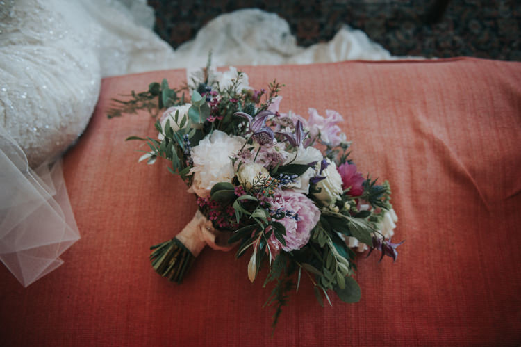 Bouquet Bride Bridal Peony Thistle Rose Herbs Flowers Home Made Walled Garden Wedding https://www.rosiekelly.co.uk/