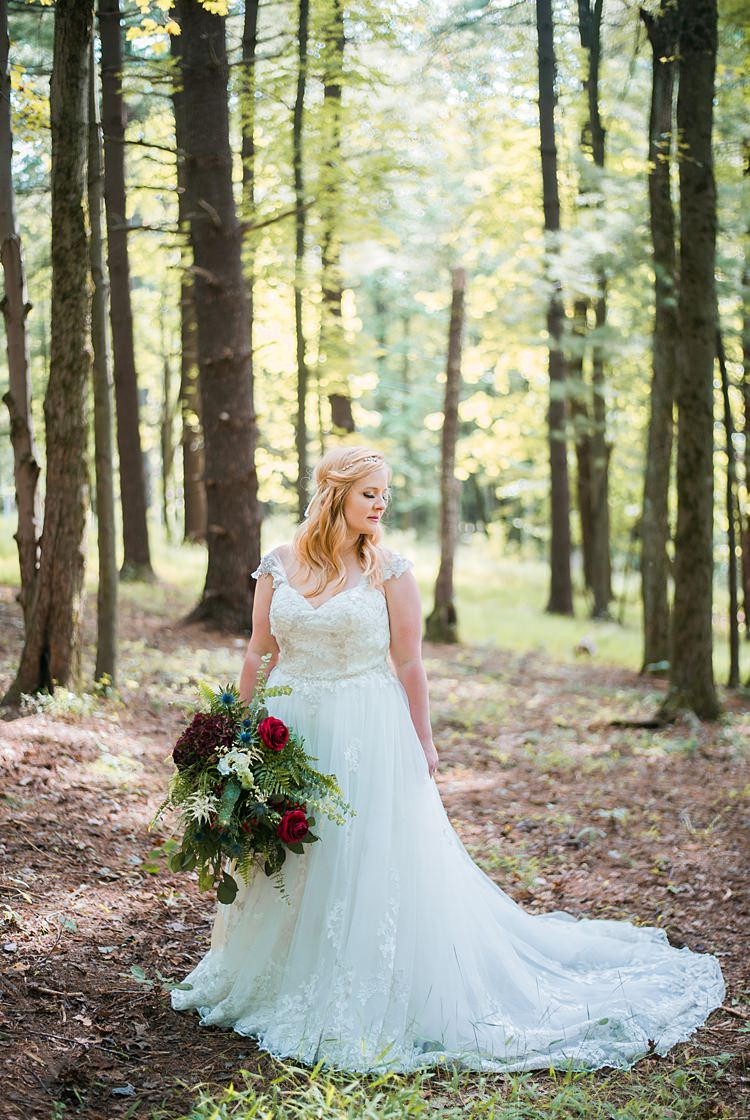 Bride Lace A Line Gown Bouquet Greenery Red Cap Sleeve Outdoors Whimsical Woods Wedding Barn Ohio http://www.connectionphotoblog.com/