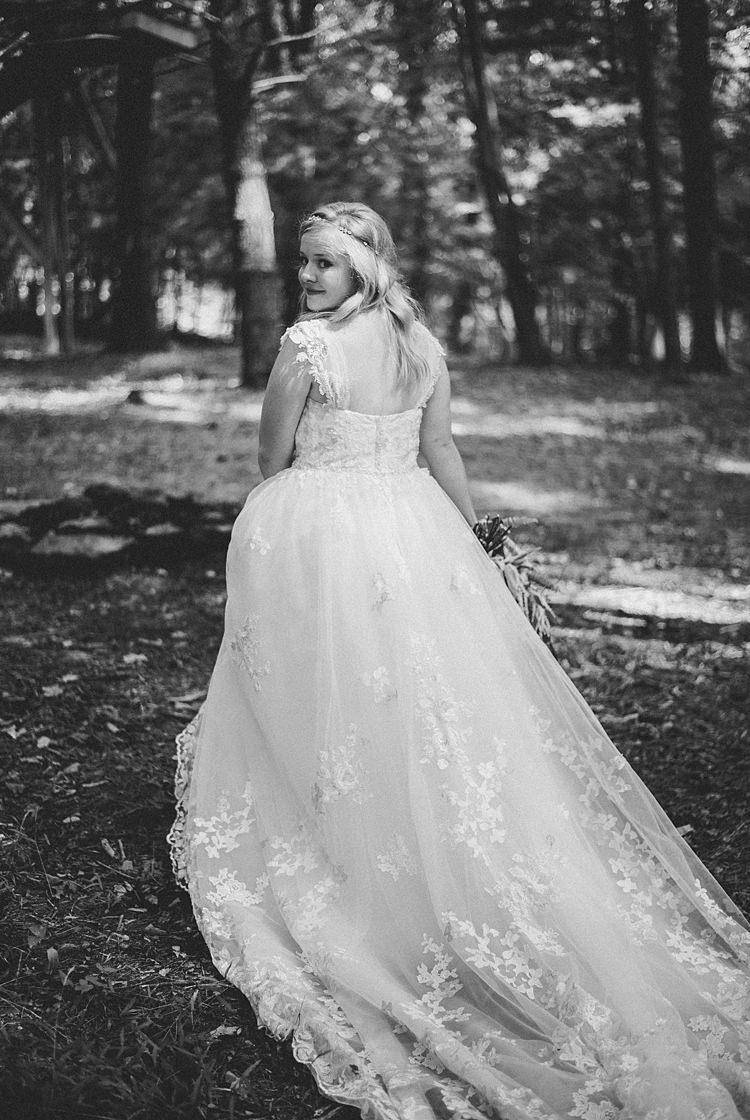 Bride Gown Train Lace Cap Sleeve Curls Whimsical Woods Wedding Barn Ohio http://www.connectionphotoblog.com/