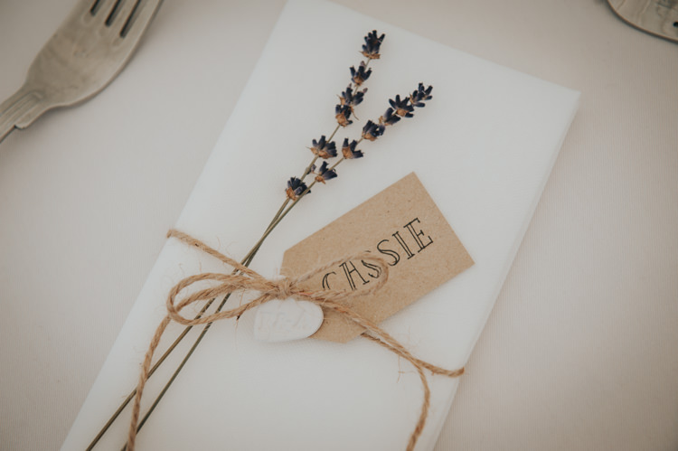 Place Setting Card Luggage Tag Lavender Herbs Flowers Home Made Walled Garden Wedding https://www.rosiekelly.co.uk/