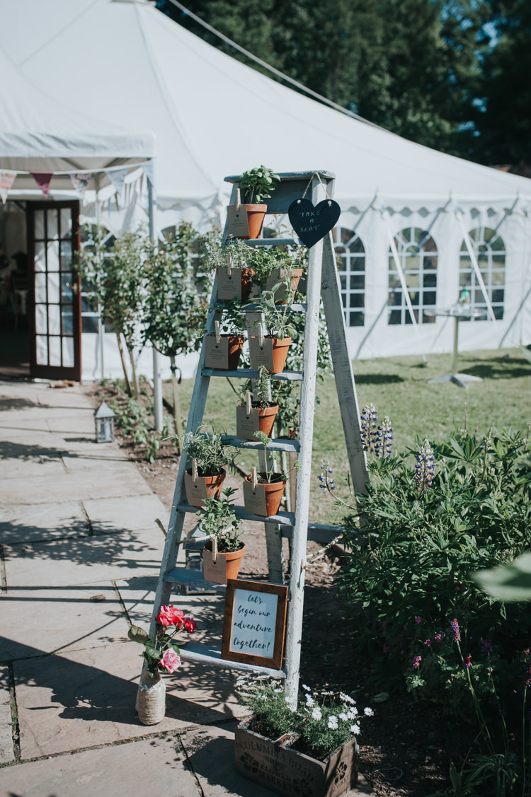 Pot Plant Ladder Seating Plan Table Chart Herbs Flowers Home Made Walled Garden Wedding https://www.rosiekelly.co.uk/