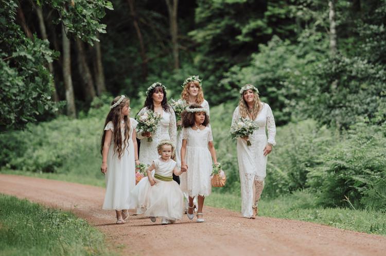 White Crochet Bridesmaids Flower Girls Dresses Enchanting Ancient Forest Wedding http://donnamurrayphotography.com/
