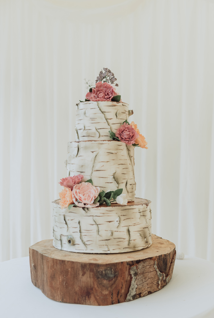 Silver Birch Tree Bark Cake Log Stand Enchanting Ancient Forest Wedding http://donnamurrayphotography.com/