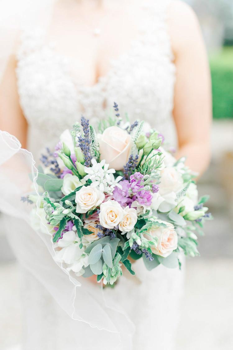 Bouquet Flowers Rose Stocks Lavender Bride Bridal Romantic Rustic Blush Pink Wedding http://whitestagweddings.com/