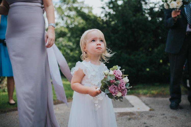 Flower Girl Posy Bouquet White Dress Bridesmaid Chic Romantic Florals Candlelight Wedding http://lisawebbphotography.co.uk/
