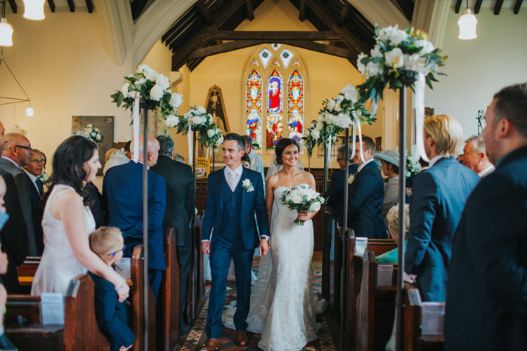 Bride Bridal Pronovias Strapless Sweetheart Fishtail Train Veil White Rose Bouquet Navy Suit Groom Chic Romantic Florals Candlelight Wedding http://lisawebbphotography.co.uk/