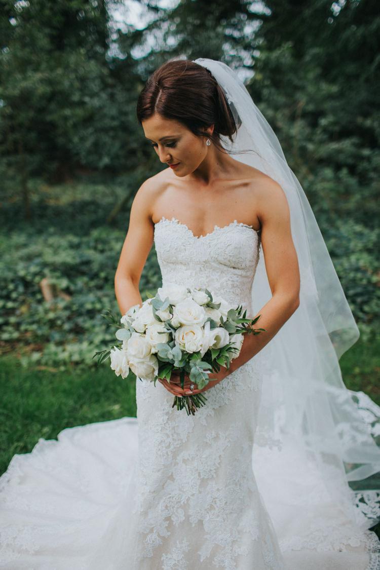 Bride Bridal Pronovias Strapless Sweetheart Fishtail Train Veil White Rose Bouquet Chic Romantic Florals Candlelight Wedding http://lisawebbphotography.co.uk/
