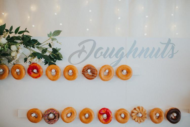 Doughnut Wall Modern Calligraphy Fairy Lights Chic Romantic Florals Candlelight Wedding http://lisawebbphotography.co.uk/