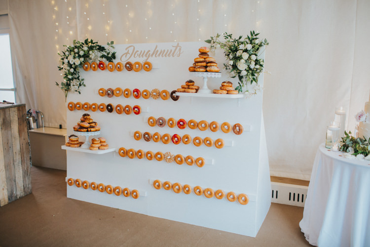 Doughnut Wall White Rose Cake Stand Dessert Pudding Chic Romantic Florals Candlelight Wedding http://lisawebbphotography.co.uk/