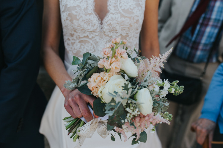 Flowers Bouquet Peony Stock Peach Pink Astilbe Beautifully Serene Beachside Barn Wedding https://joshuapatrickphotography.com/