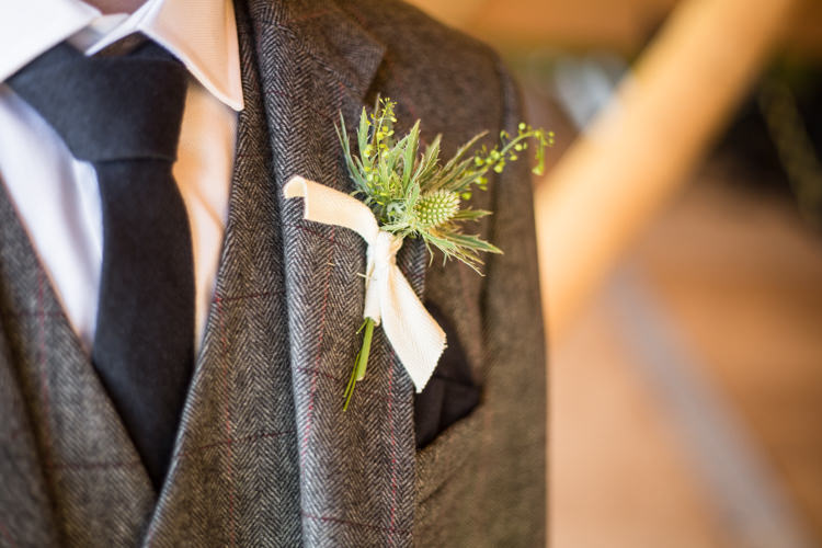 Thistle Buttonhole Boutonniere Ribbon Natural Outdoor Tipi Wedding https://www.ad-photography.co.uk/