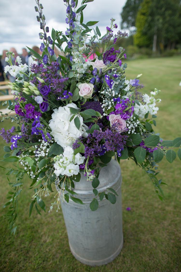 Milk Churn Metal Steel Foliage Floral Flowers Rose Quirky Rustic Farm Wedding https://ragdollphotography.co.uk/
