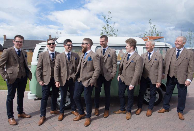 Tweed Groom Groomsmen Mismatched Tan Brogues Waistcoat Three Piece Quirky Rustic Farm Wedding https://ragdollphotography.co.uk/