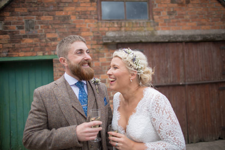 Bride Bridal Dress Gown Charlotte Balbier Long Sleeve V Neck Tweed Three Piece Groom Waistcoat Mismatched Pocket Square Quirky Rustic Farm Wedding https://ragdollphotography.co.uk/
