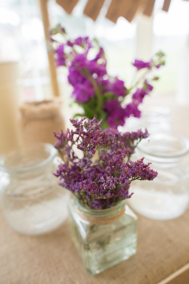 Hessian Jar Heather Purple Flowers Floral Table Quirky Rustic Farm Wedding https://ragdollphotography.co.uk/
