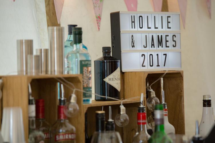 Bar Set Up Wooden Crate Spirits Light Box Festoon Lighting Quirky Rustic Farm Wedding https://ragdollphotography.co.uk/