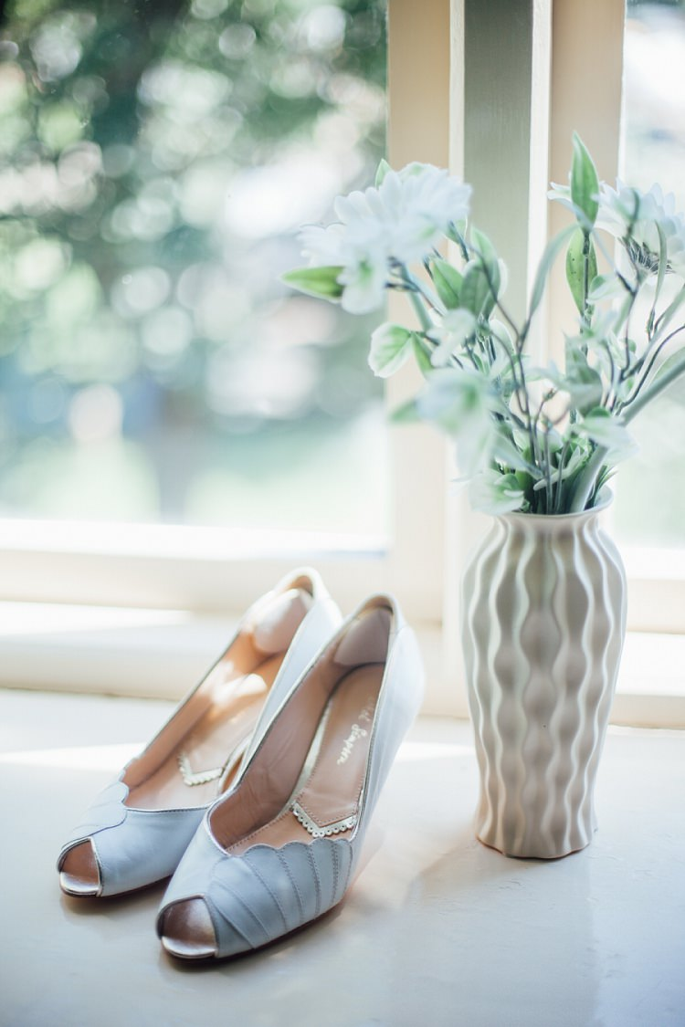 Blue Peep Toe Shoes Rachel Simpson Bride Bridal Eco Friendly Floral Filled Wedding http://kellyjphotography.co.uk/