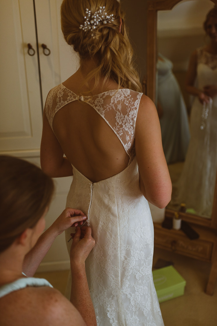 Key Hole Back Dress Gown Bride Bridal Lace Laid Back Summer Garden Party Wedding Stretch Tent http://joemallenphotography.co.uk/