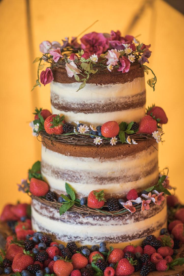 Naked Cake Sponge Layer Fruit Berries Flowers Boho Festival Tipi Wedding http://alexaclarkekent.com/