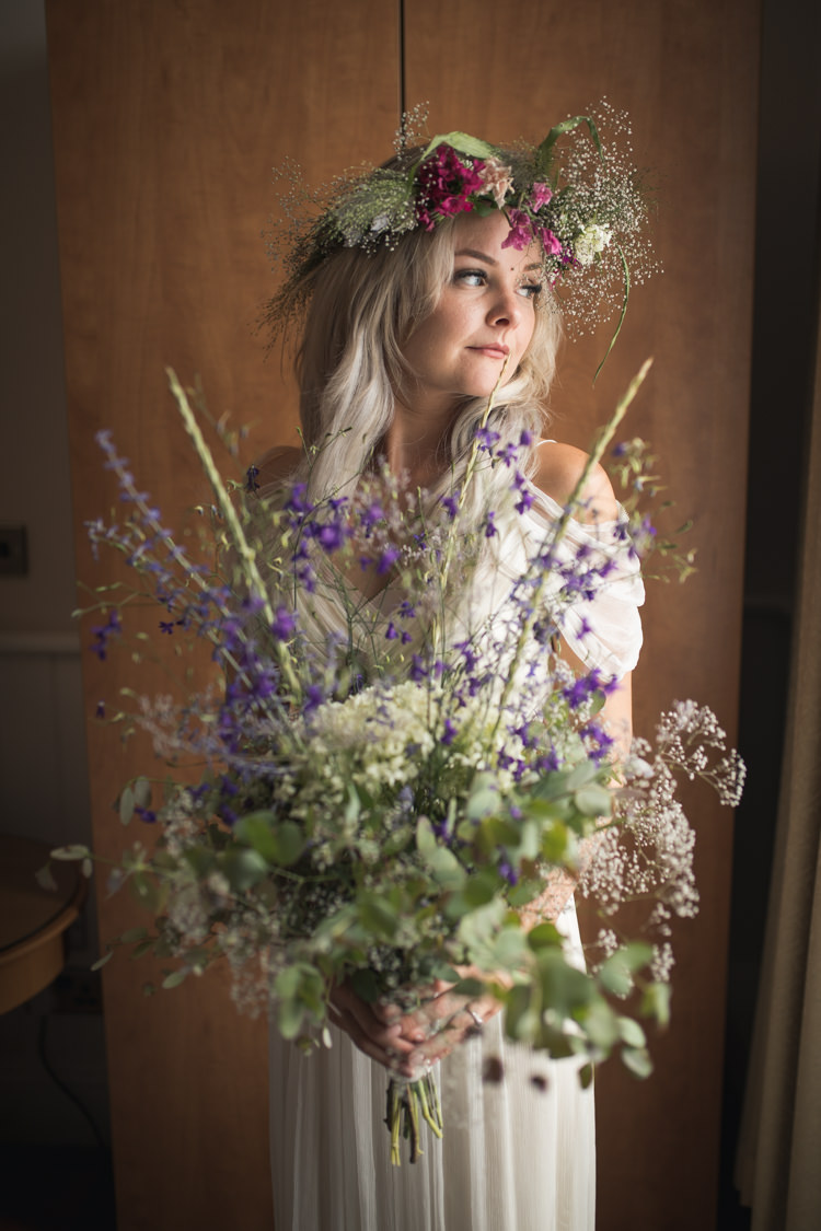 Bride Bridal Flowers Crown Bouquet Large Wild Natural Boho Festival Tipi Wedding http://alexaclarkekent.com/