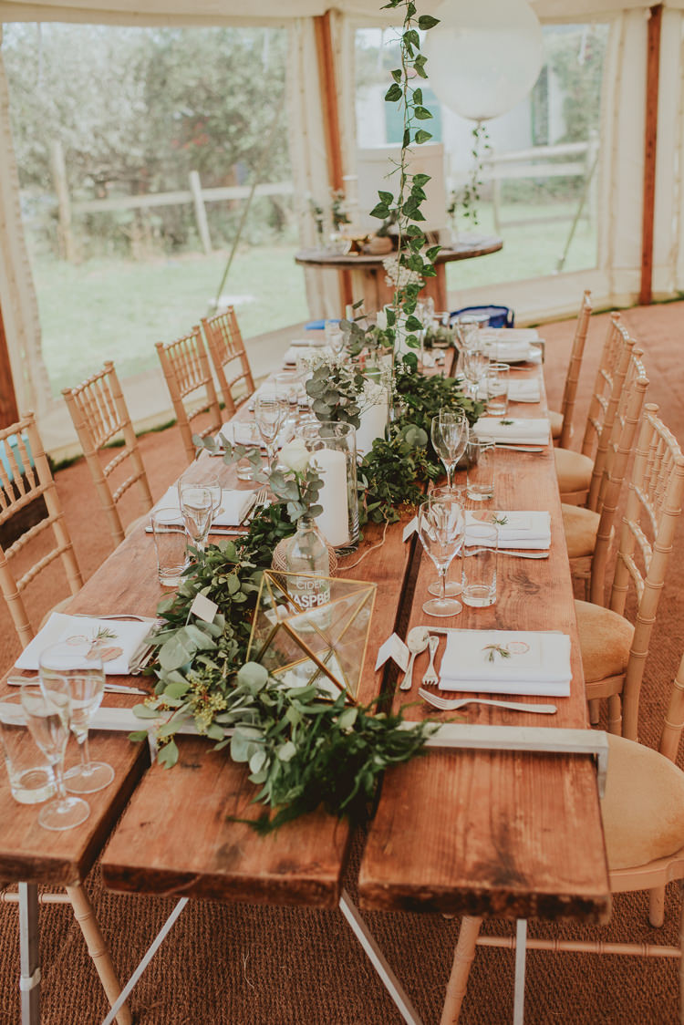 Wooden Tables Decor Decoration Rustic Greenery White Apple Orchard Wedding http://bigbouquet.co.uk/