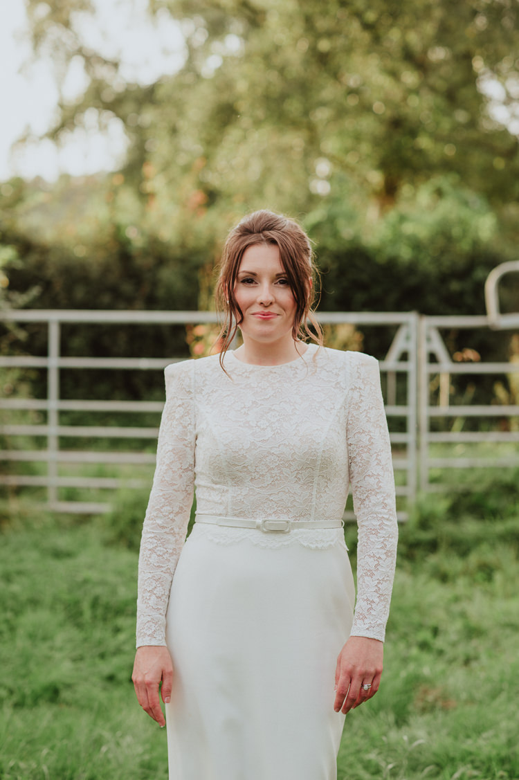 Lace Top Sleeves Bride Bridal Dress Gown Skirt Sassi Holford Belt Rustic Greenery White Apple Orchard Wedding http://bigbouquet.co.uk/