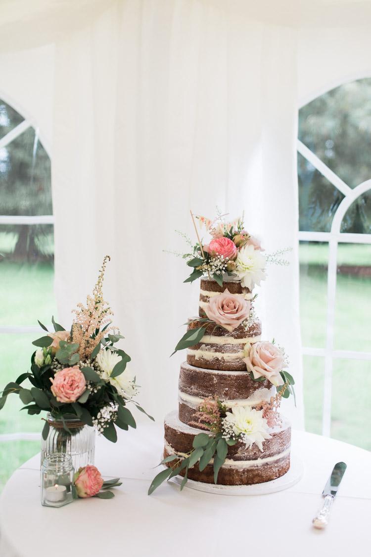 Naked Cake Layer Buttercream Sponge Flowers Simple Natural Honest Marquee Wedding https://www.gemmagiorgio.com/