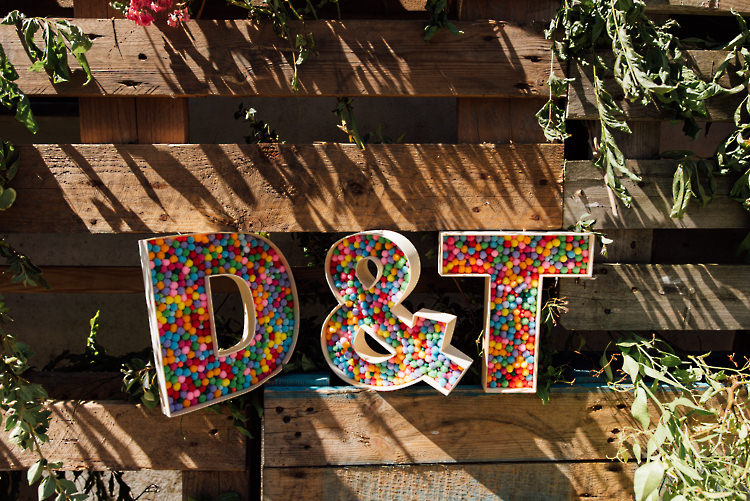 Pom Pom Letters Initials Alternative Colourful Outdoor Humanist Village Hall Wedding http://www.chebirchhayesphotography.com/
