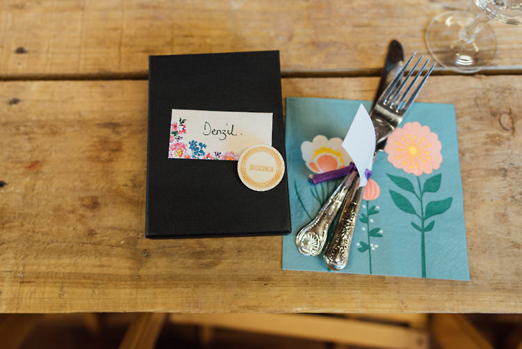Place Setting Floral Name Card Alternative Colourful Outdoor Humanist Village Hall Wedding http://www.chebirchhayesphotography.com/