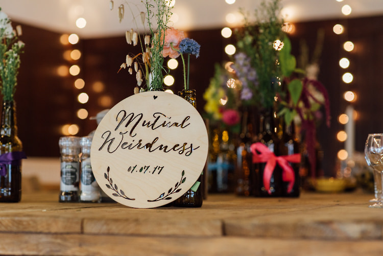Mutual Weirdness Sign Wooden Alternative Colourful Outdoor Humanist Village Hall Wedding http://www.chebirchhayesphotography.com/
