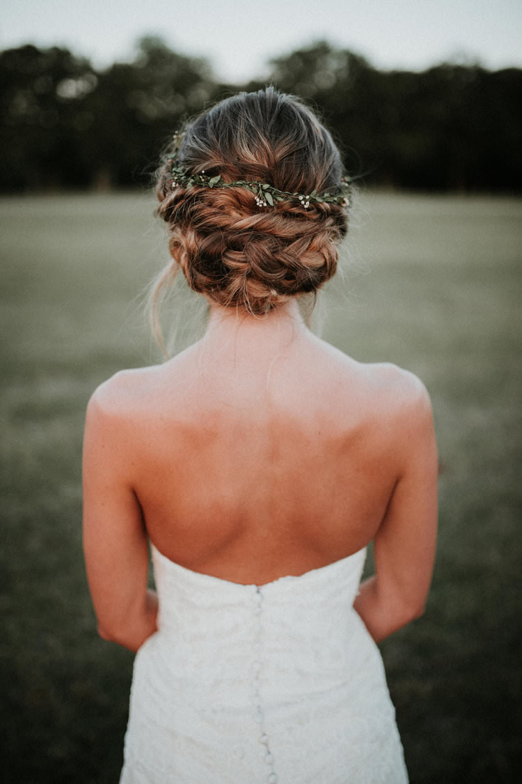 Outdoor Rustic Boho Forest Field Natural Bride Updo Foliage Flower Crown | Organic Earthy Fun Wedding Oklahoma http://zaynewilliams.com/
