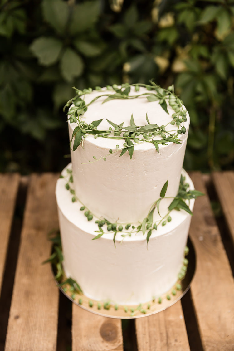 Smooth Buttercream Cake Foliage Green White Organic Rustic Greenery Wedding Ideas http://sarahbrookesphotography.com/