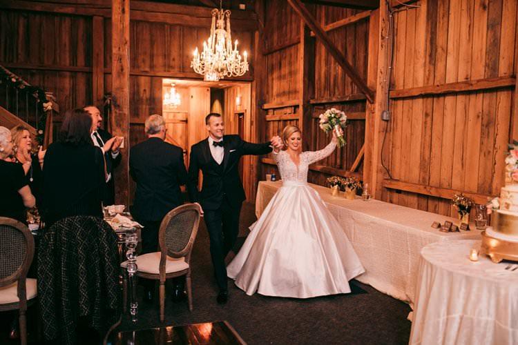 Bride Groom Winter Barn Wedding Dance Chandelier | Festive Glamour Christmas New Years Eve Wedding http://www.stevendrayimages.com/
