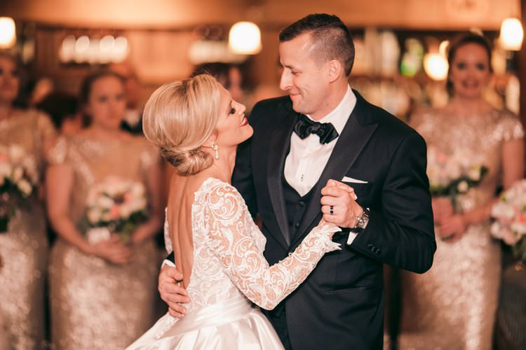 Winter Barn Bride Groom First Dance Smile Bridesmaids Sequins | Festive Glamour Christmas New Years Eve Wedding http://www.stevendrayimages.com/