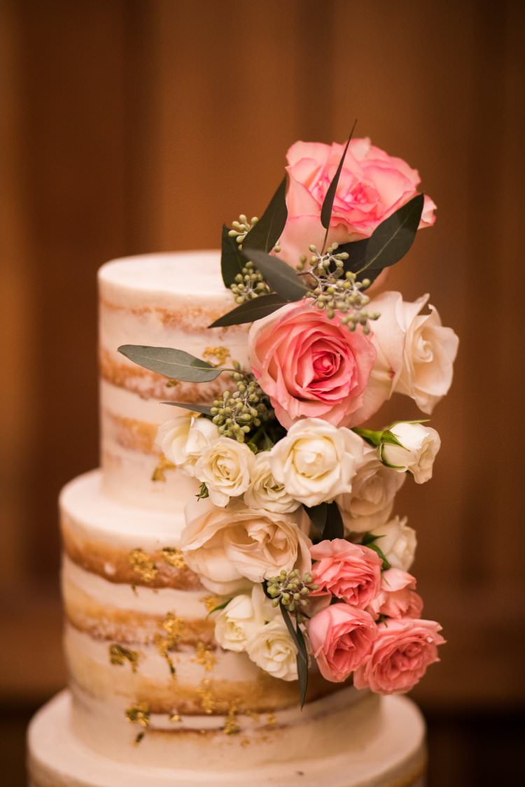 Semi Naked Cake White Gold Pink Green Fresh Flowers | Festive Glamour Christmas New Years Eve Wedding http://www.stevendrayimages.com/