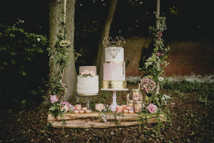 Pink Gold Blush Cake Metallic Heart Flowers Dessert Table Romantic Luxe Wedding Ideas in the Country http://benjaminmathers.co.uk/