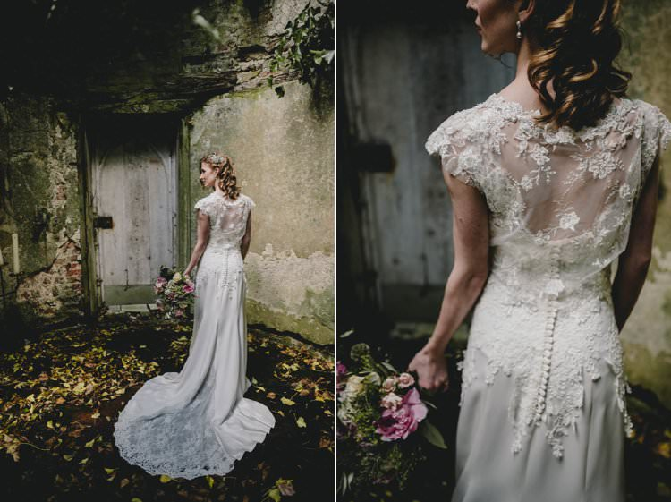 Dress Gown Bride Bridal Train Lace Button Back Romantic Luxe Wedding Ideas in the Country http://benjaminmathers.co.uk/