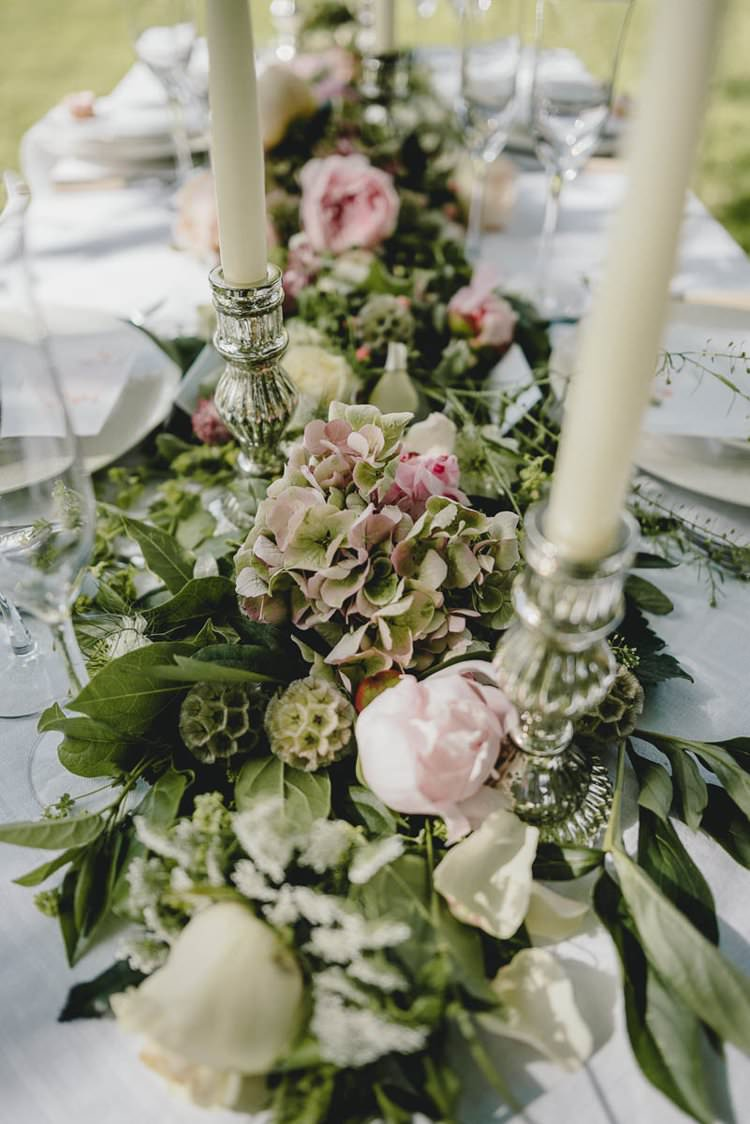 Pink Table Flowers Swag Garland Peony Peonies Hydrangea Rose Romantic Luxe Wedding Ideas in the Country http://benjaminmathers.co.uk/