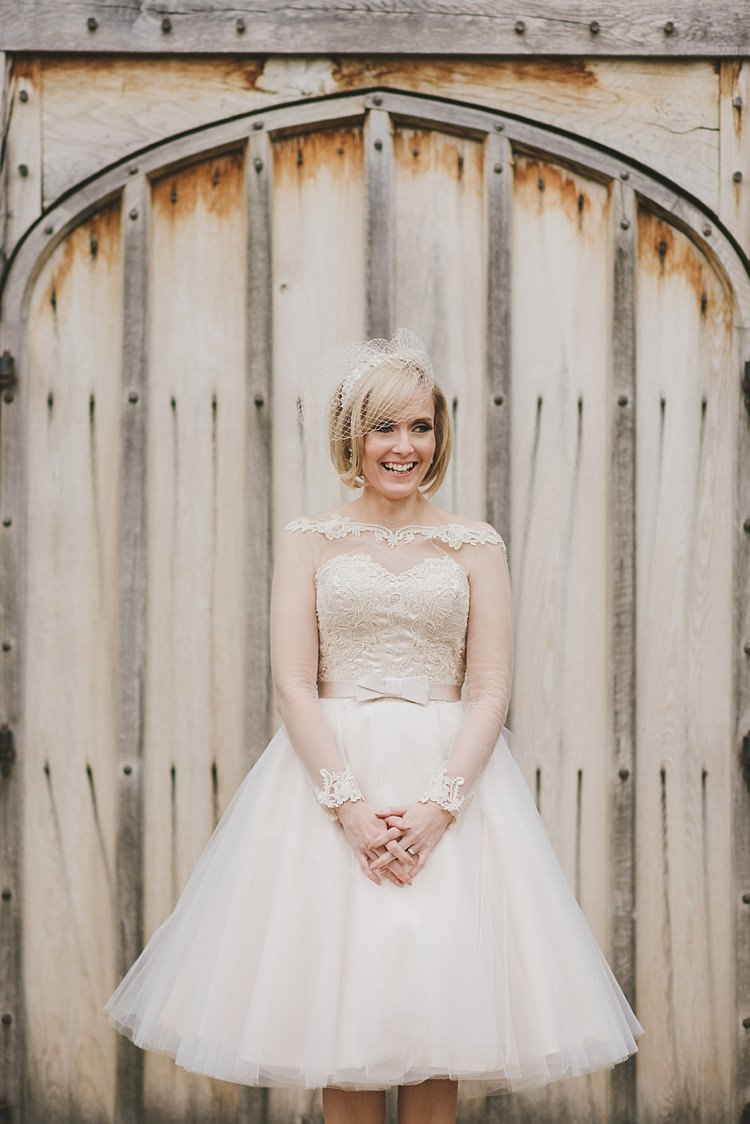 House of Mooshki Short Dress Blush Bride Bridal Tulle Lace Gown Untraditional Pretty Travel Barn Wedding https://www.georgimabee.com/